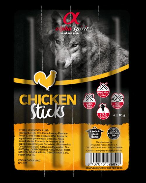 Alpha Spirit poslastice za pse, štapići piletina 40g