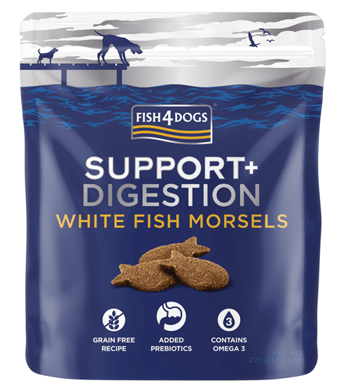 Fish4Dogs Support+ poslastice - Digestion white fish morsels 225g